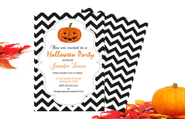 Chevron Halloween Party Invitation with Pumpkins Template