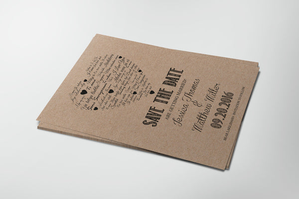 I Love You other Languages Heart Kraft Paper Save the Date Template