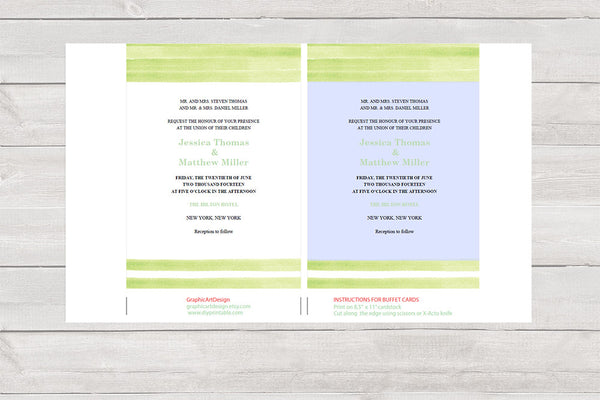 Mint Green Stripes Watercolor Wedding Invitation Template - DIYprintable