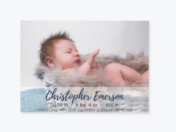 Baby Birth Announcement Photo Invitation Template