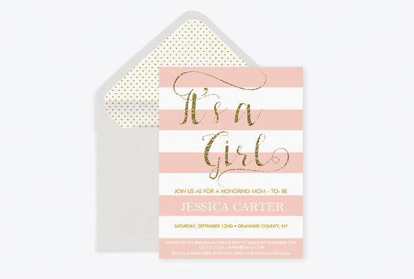 It's A Girl Gold Glitter Calligraphy Baby Shower Invitation with Envelope Liner Templates