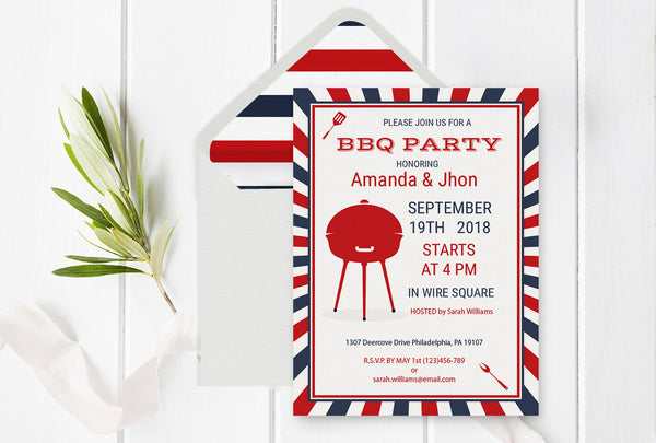 Barbeque Party Invitation Template with Envelope Liner