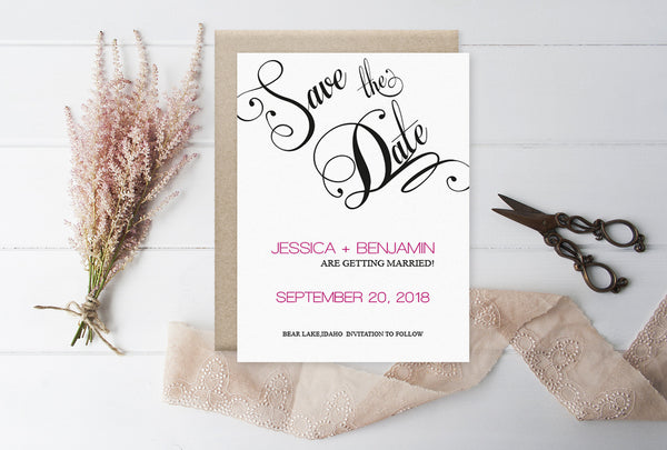 Calligraphy Handlettered Wedding Save the Date Template