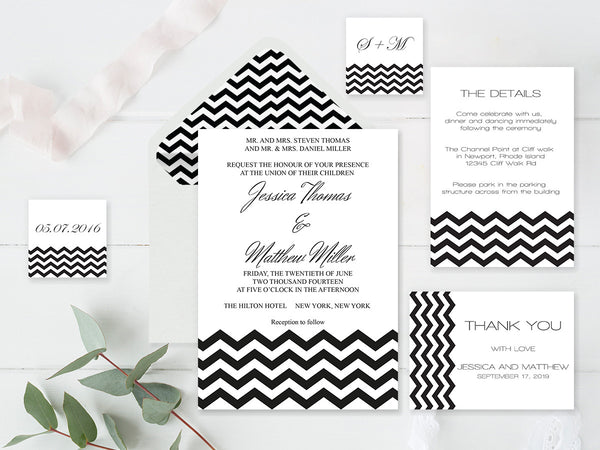 Black Chevron Wedding Invitation Suite Templates