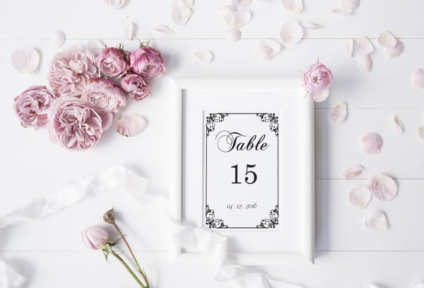 Black Flourish Wedding Table Numbers Template
