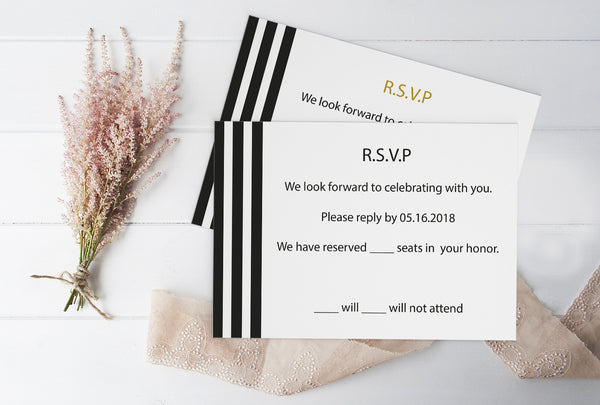 Black Stripes Wedding RSVP Response Card Template