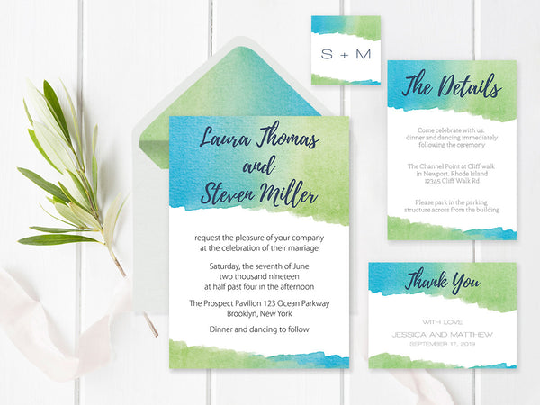 Watercolor Wedding Invitation Suite and Envelope Liners Templates
