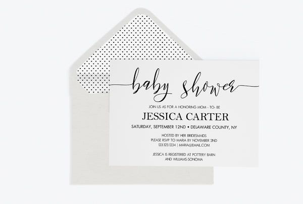 Calligraphy Baby Shower Invitation Template