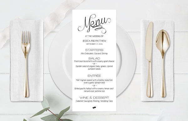 Calligraphy Wedding Menu Template