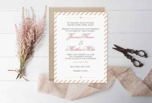 Dark Peach Carnival Stripes Printable Wedding Invitation Template