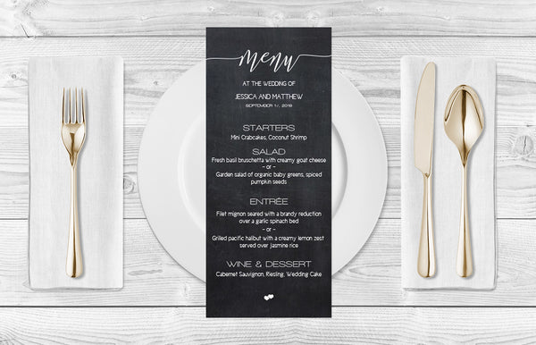 Chalkboard Calligraphy Wedding Menu Template
