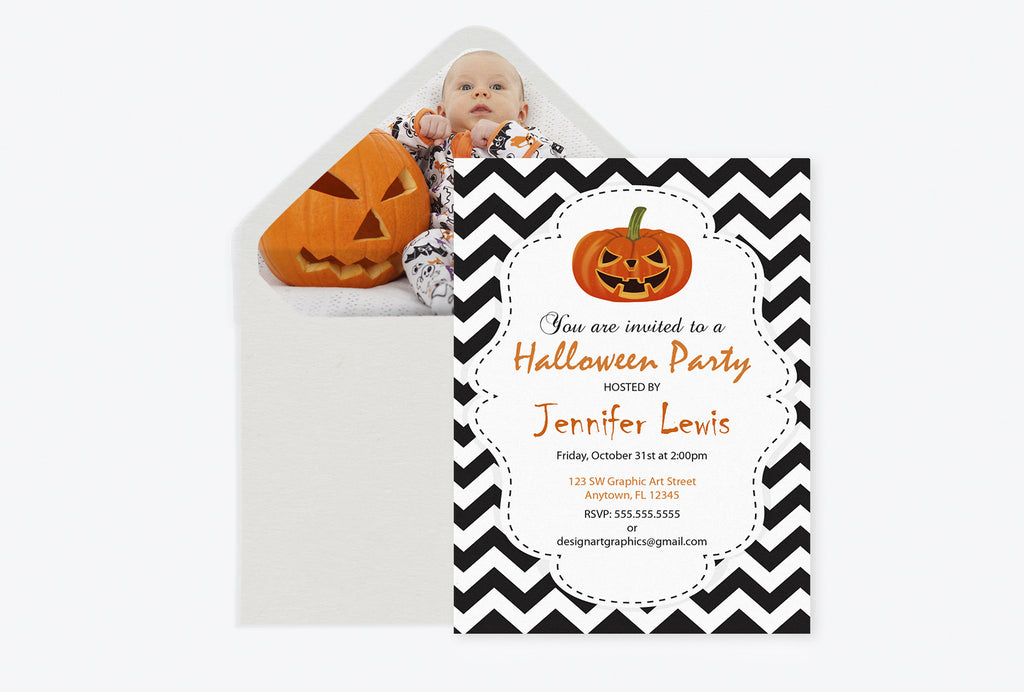 Chevron Halloween Party Invitation with Pumpkins Template and Envelope Liner