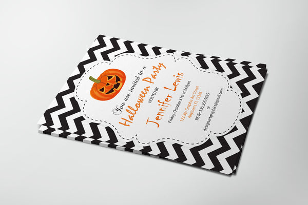 Chevron Halloween Party Invitation with Pumpkins PDF Template