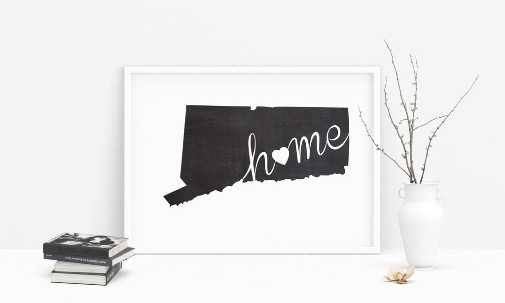 Connecticut Wall Art Chalkboard Home Printable Poster - DIYprintable