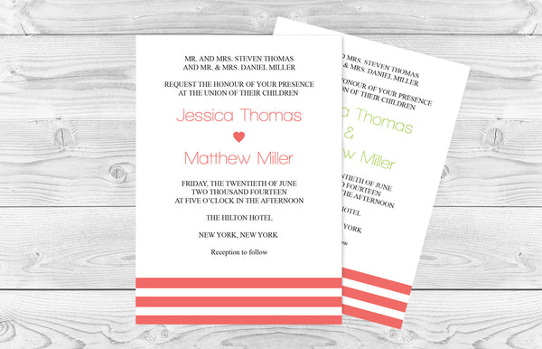 Coral Stripes Wedding Invitation Template - DIYprintable