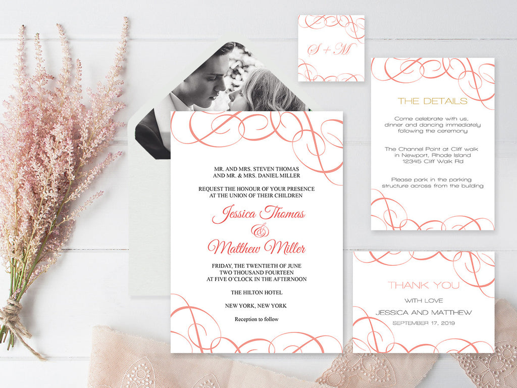 Coral Swrils Wedding Invitation Suite Templates