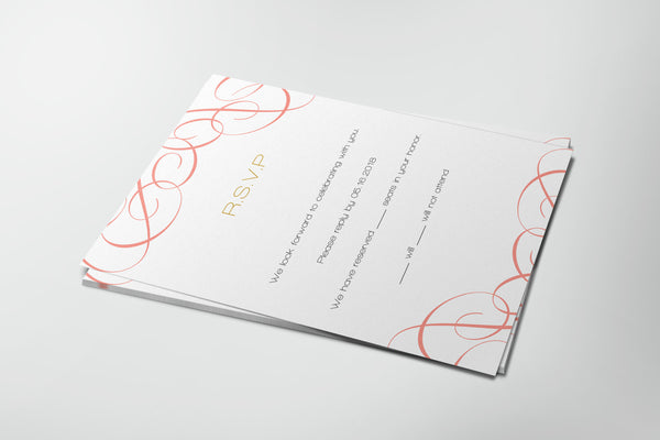 Coral Swrils Wedding Invitation RSVP Card Templates