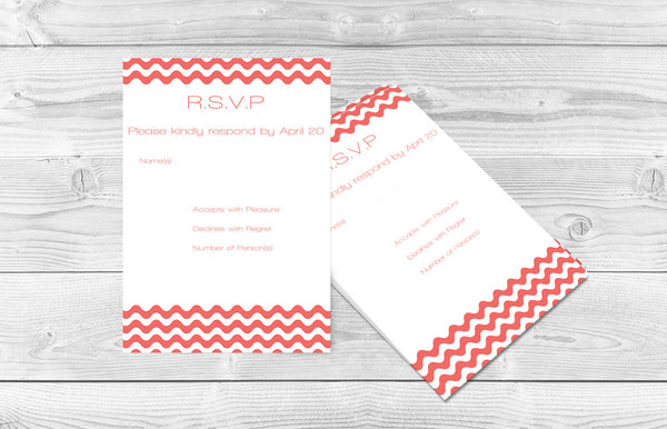 Coral Wave Chevron Wedding RSVP Card Editable PDF Template - DIYprintable