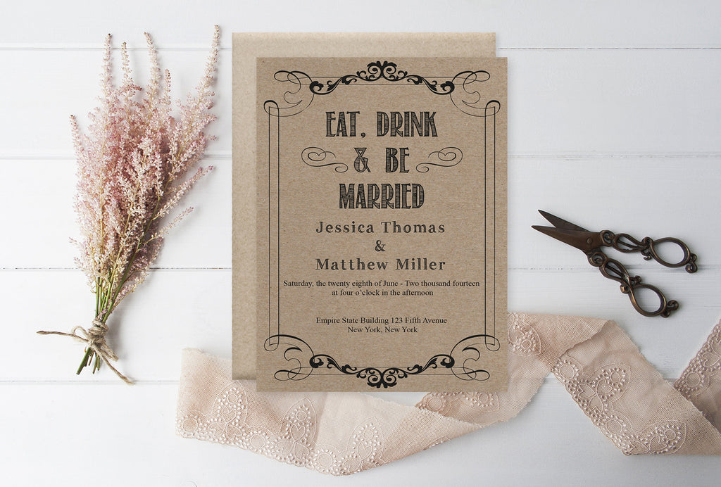 Eat Drink U0026 Be Married Rustic Kraft Paper Wedding Invitation Template