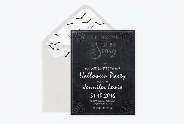 Eat Drink & Be Scary Chalkboard Halloween Party Invitation Template