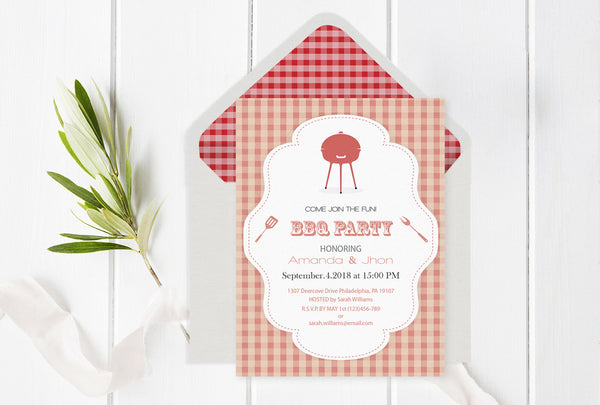 Gingham BBQ Party Invitation Template