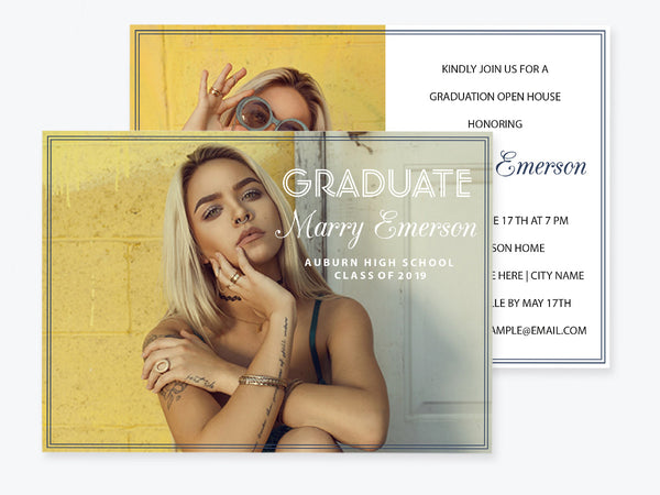Graduation Announcement Photo Invitation PDF Template