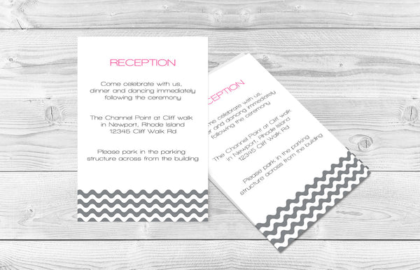 Silver Grey Wave Chevron Wedding Reception Template - DIYprintable