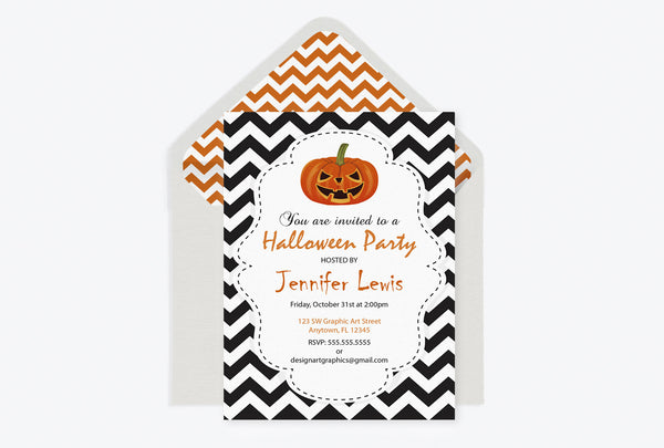 Chevron Halloween Party Invitation with Pumpkins Template and Envelope Liners