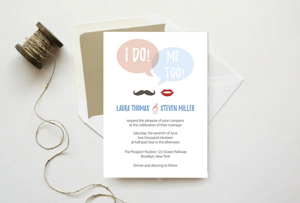 I Do! Me Too! Speech Bubble Wedding Invitation Template
