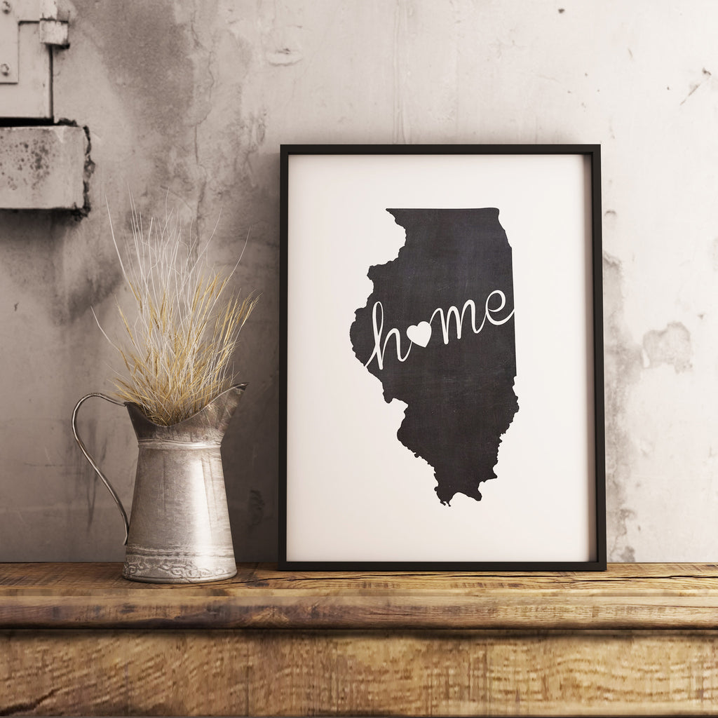 Illinois Wall Art Chalkboard Home Printable Poster