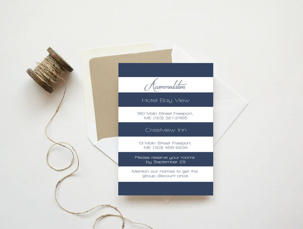 Navy Stripes Wedding Accommodations Template