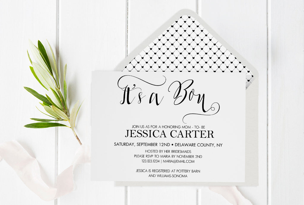 Its A Boy Calligraphy Baby Shower Invitation With Envelope Liner