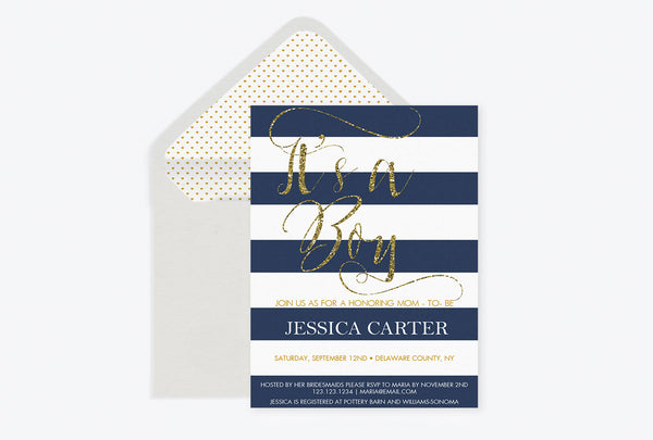 It's A Boy Gold Glitter Calligraphy Baby Shower Invitation with Envelope Liner Templates