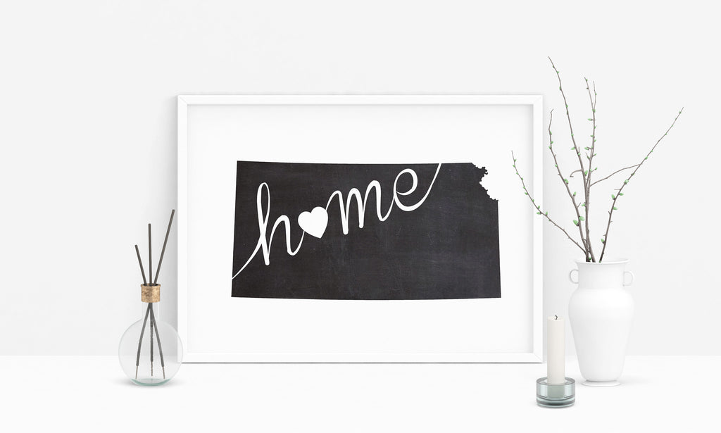 Kansas Wall Art Chalkboard Home Printable Poster