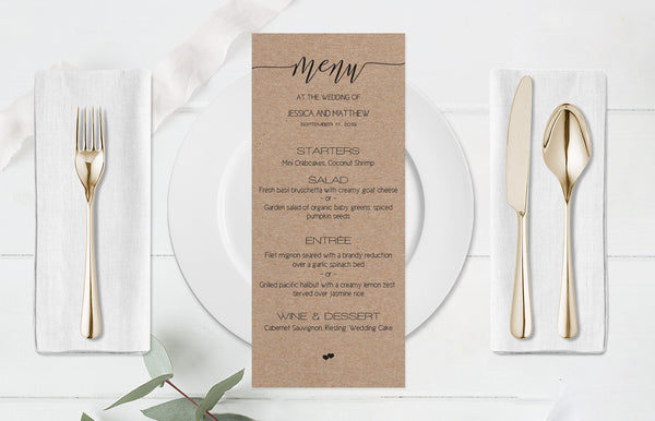 Kraft Calligraphy Wedding Menu Template
