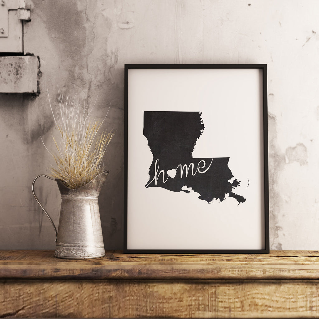 Louisiana Wall Art Chalkboard Home Printable Poster