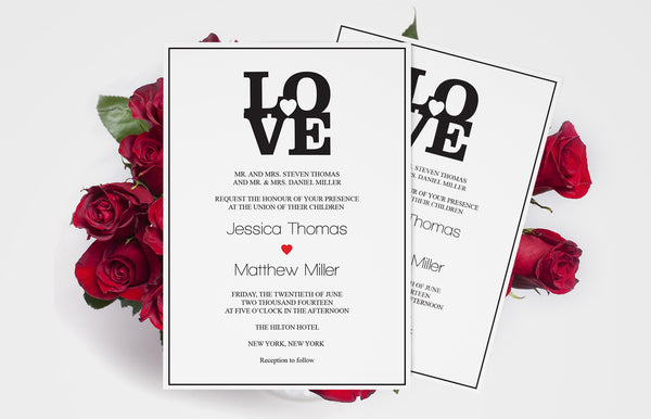 Black LOVE Heart Wedding Invitation Templates - DIYprintable