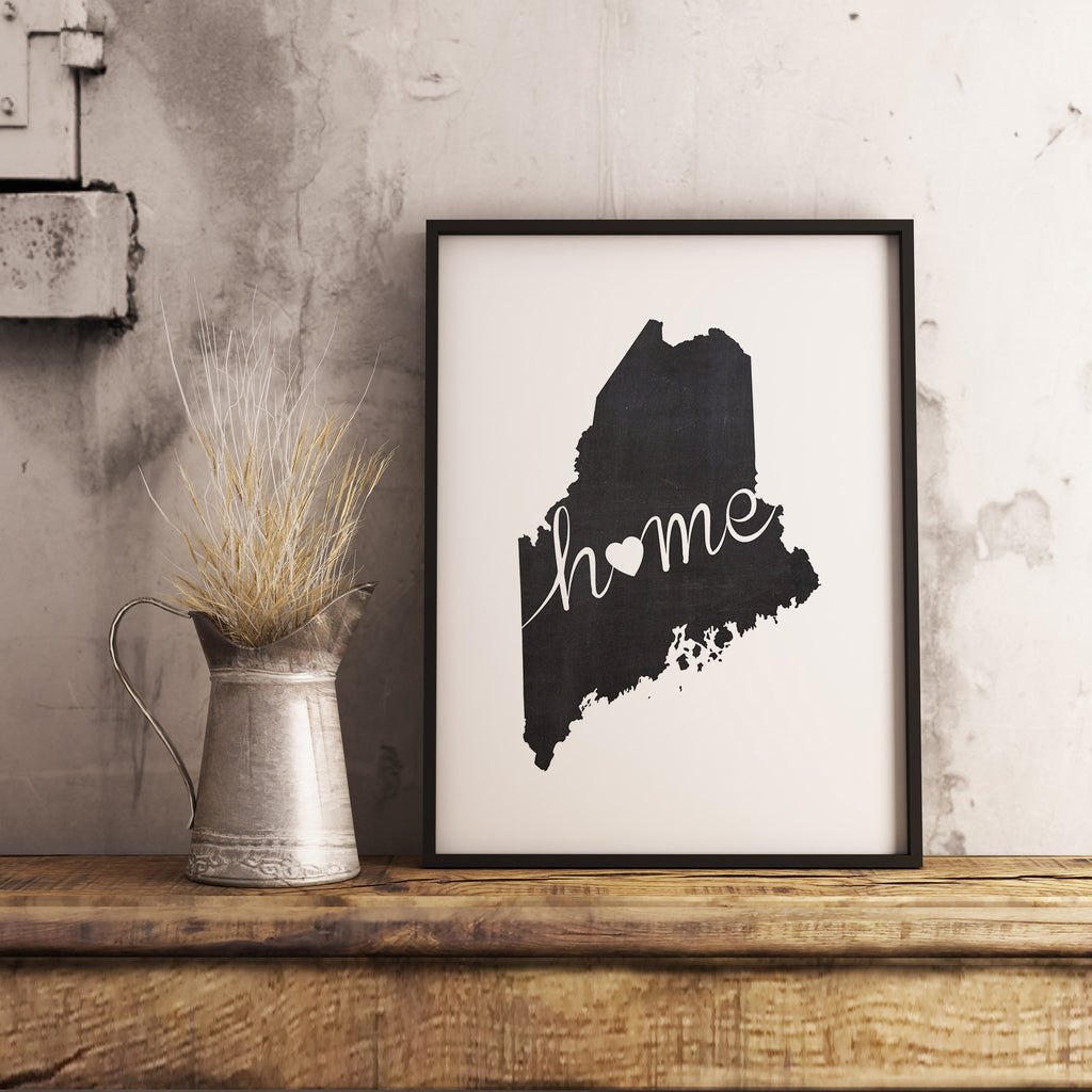 Maine Wall Art Chalkboard Home Printable Poster