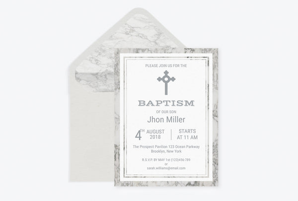 Marble Baptism Invitation Template