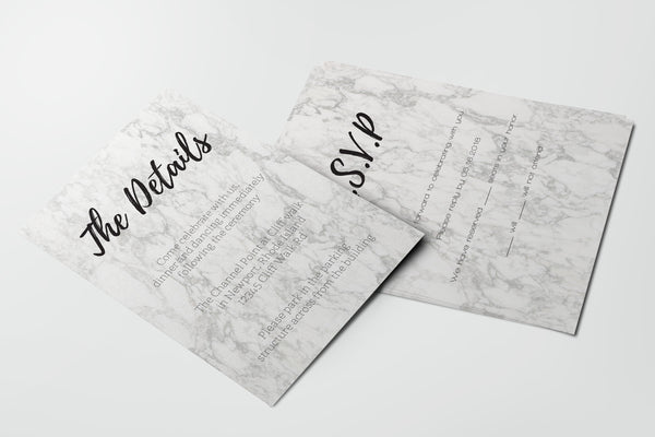 Modern Marble Wedding Details and RSVP Card Templates