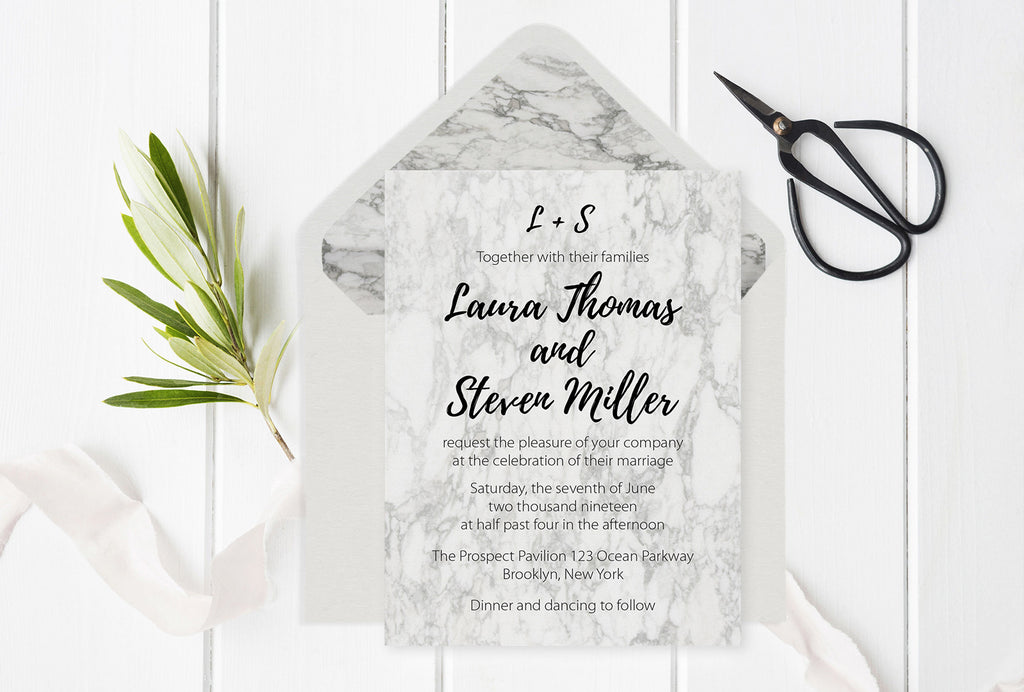 Modern Marble Wedding Invitation Suite And Envelope Liners Templates