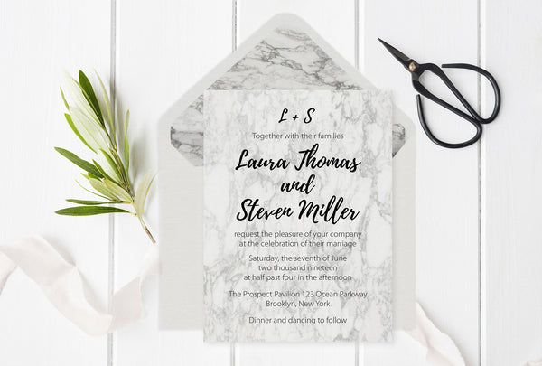 Marble Wedding Invitation Template with Envelope Liners Template
