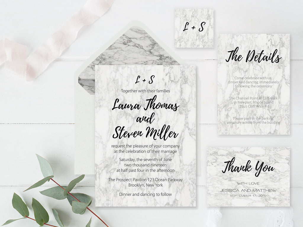 Modern Marble Wedding Invitation Suite and Envelope Liners Templates ...