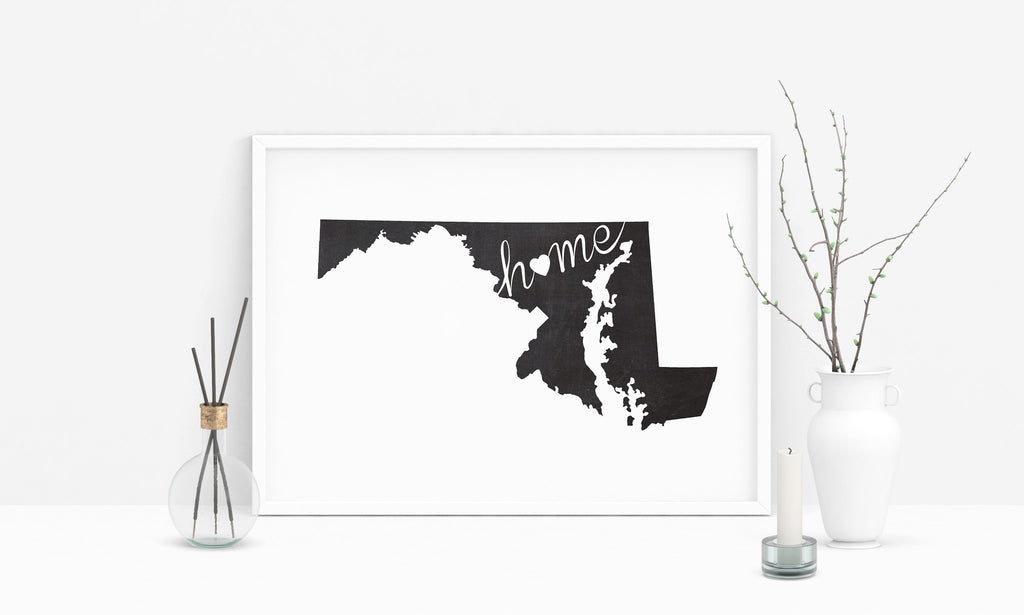Maryland Wall Art Chalkboard Home Printable Poster