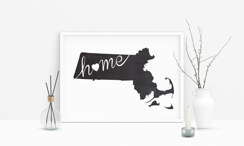 Massachusetts Wall Art Chalkboard Home Printable Poster