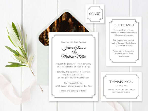 Black Frame Modern Wedding Invitation Suite Templates