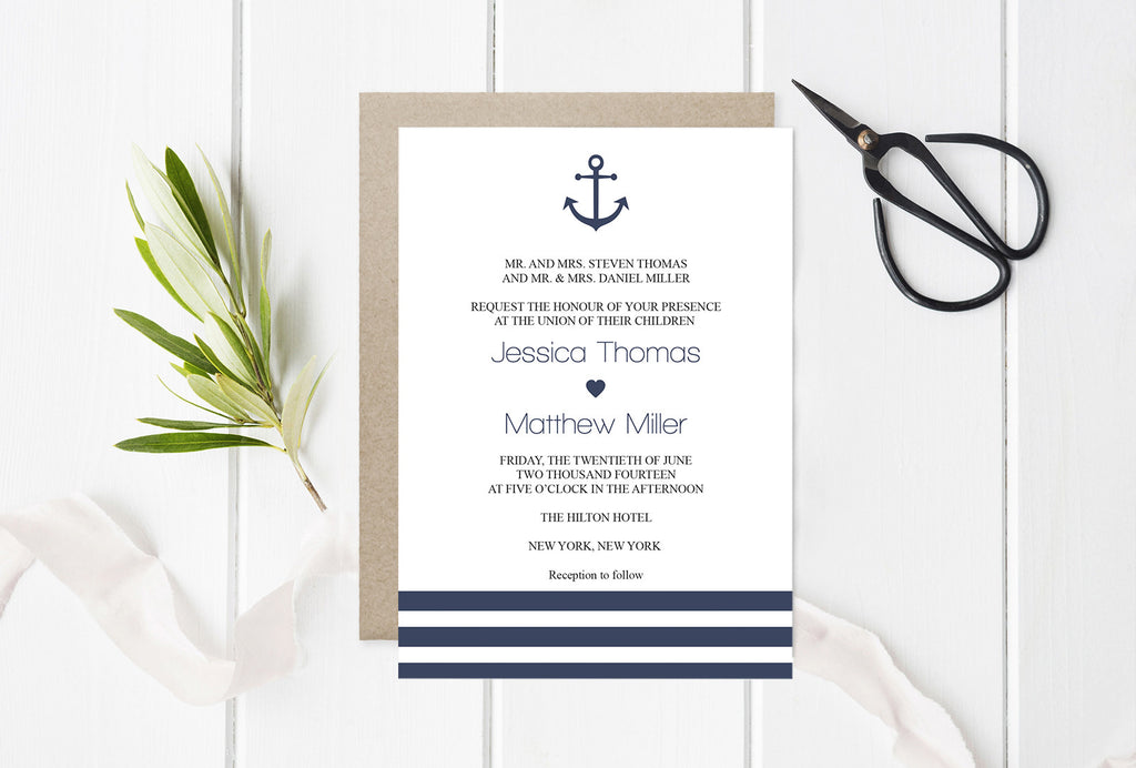 Nautical Wedding Invitation Editable PDF Template – DIYprintable