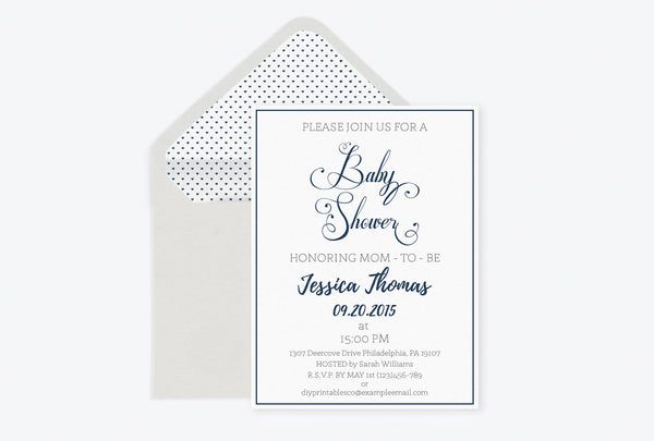 Navy Calligraphy Baby Shower Invitation with Envelope Liner Templates
