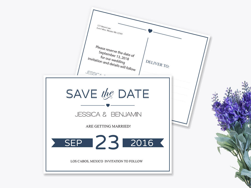 Navy Calligraphy Ribbon Frame Save the Date Postcard Template - DIYprintable