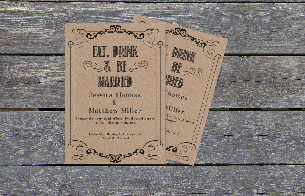 ... Eat Drink U0026 Be Married Rustic Kraft Paper Wedding Invitation Template